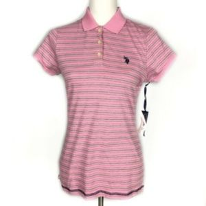 NEW U.S. Polo Assn. Small Pink Gray Striped Polo